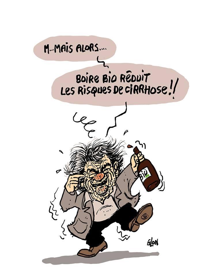 dessin d'actualité humoristique sur Jean-Louis Borloo et le vin bio