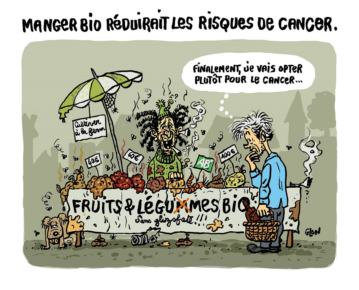 dessin d'actualité humoristique sur une expérience vécue dans un marché bio du Tarn