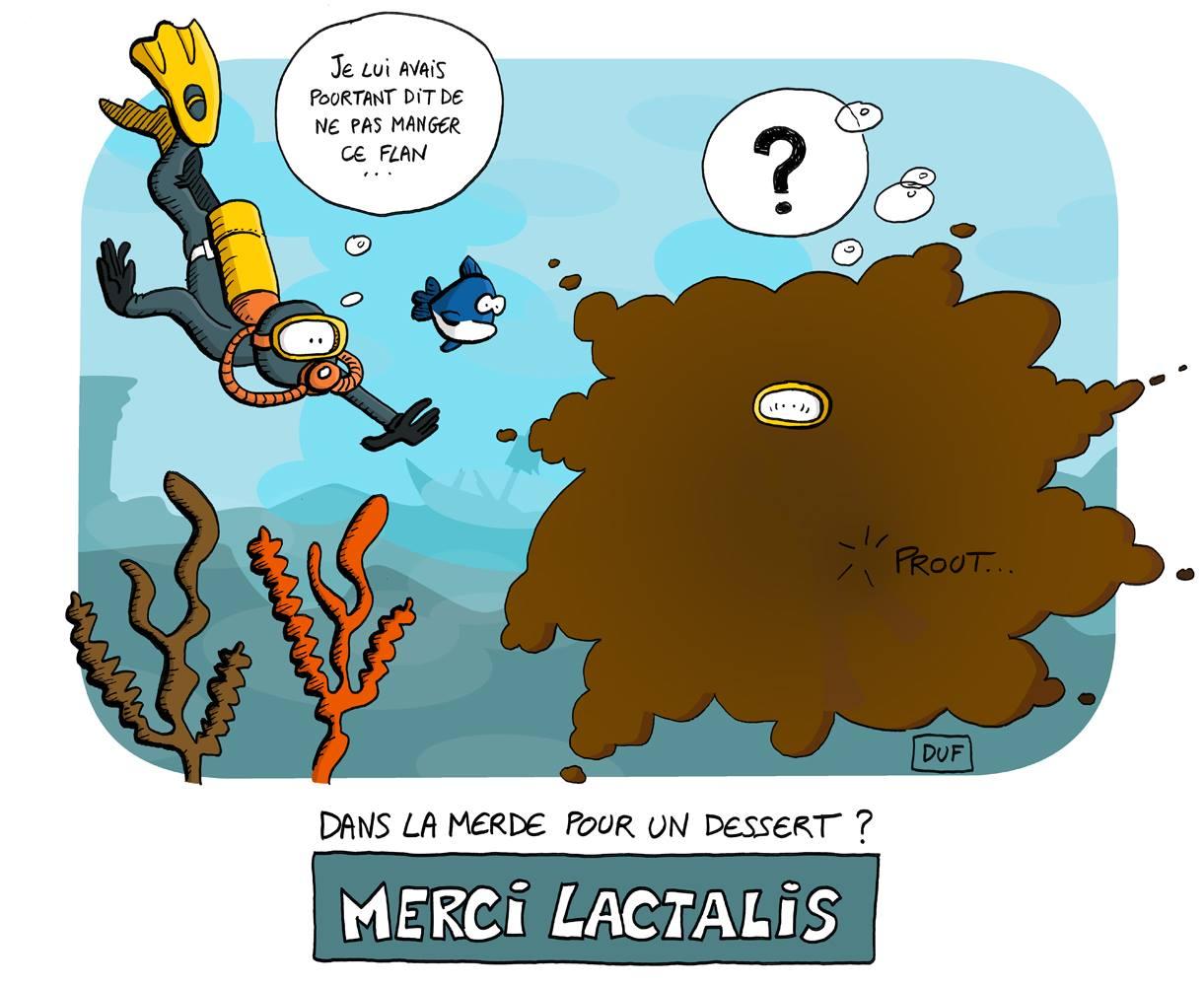 dessin d'actualité humoristique sur l'utilisation de lait contaminé par Lactalis dans des desserts