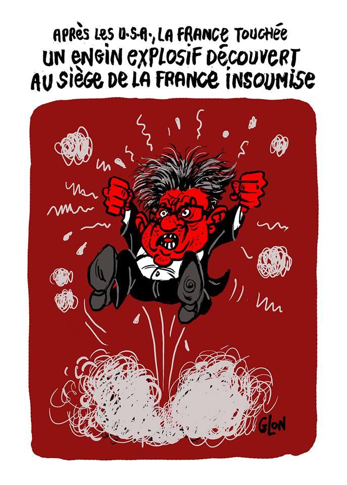 dessin d'actualité humoristique sur les colères de Jean-Luc Mélenchon et la découverte d'engins explosifs aux USA