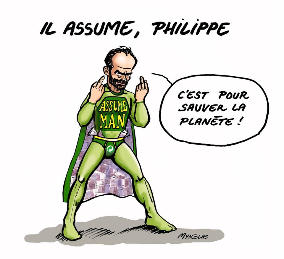 dessin d'actualité humoristique sur Édouard Philippe qui assume tout au nom de la sauvegarde de la planète