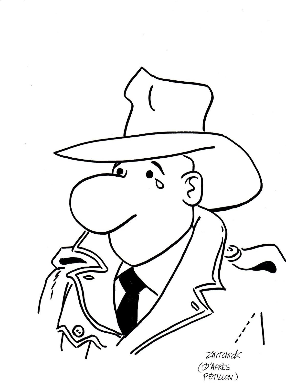 dessin d'actualité humoristique en hommage à René Pétillon