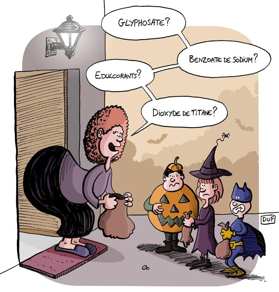 dessin d'actualité humoristique sur les sucreries d'Halloween