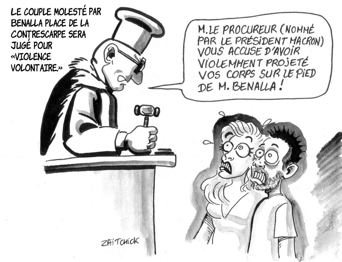 dessin d'actualité humoristique sur l'affaire Benalla et la mise en examen du couple molesté sur la Place de la Contrescarpe