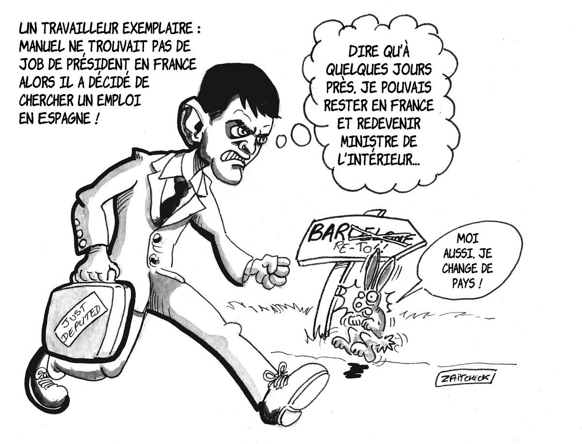 dessin d'actualité humoristique de Manuel Valls se présentant à la mairie de Barcelone