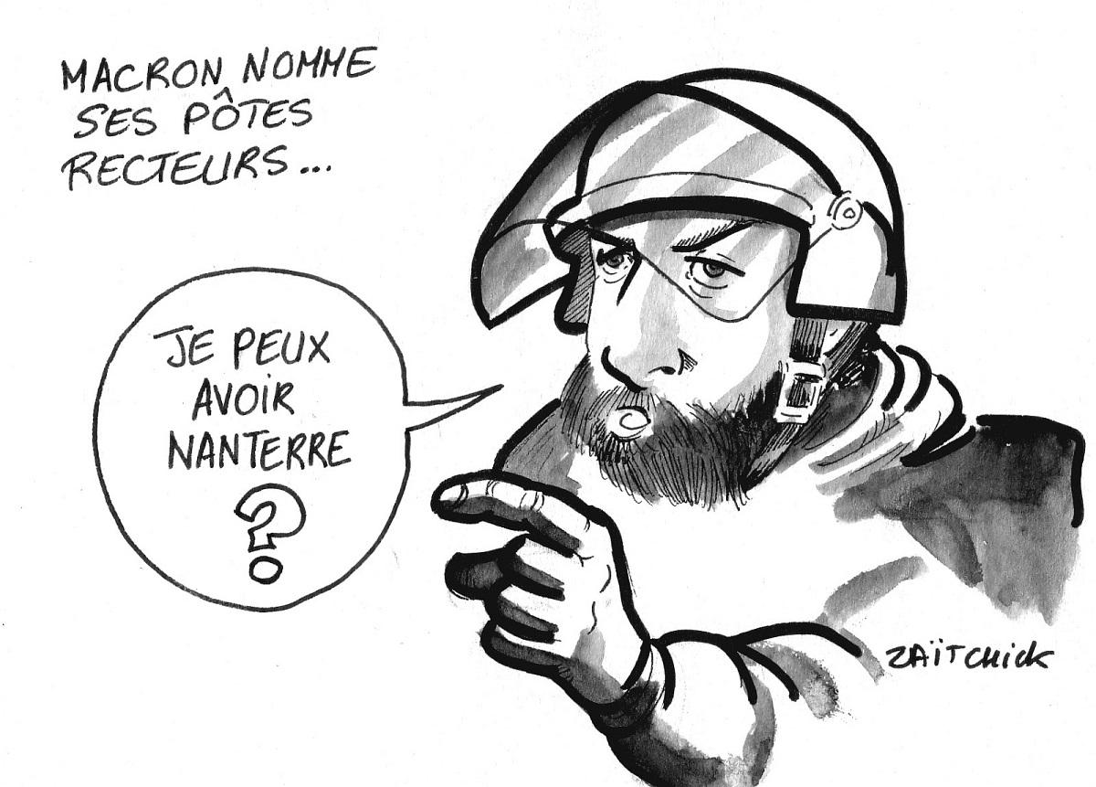 dessin d'actualité drôle sur la nomination de Charline Avenel au rectorat de Versailles