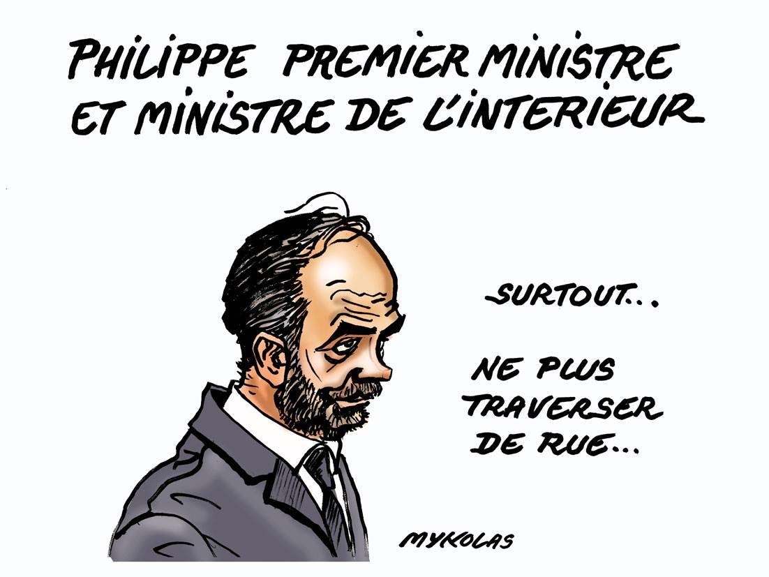 dessin d'actualité humoristique sur la passation de pouvoir entre Gérard Collomb et Édouard Philippe
