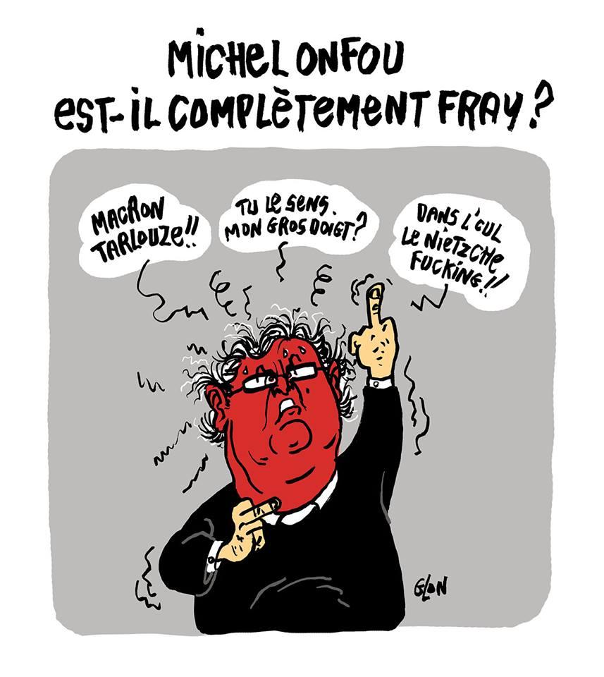 dessin d'actualité humoristique sur la lettre polémique de Michel Onfray à Emmanuel Macron