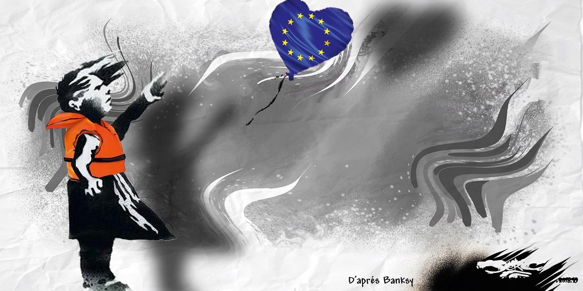 """dessin d'actualité humoristique sur les migrants d'après l'oeuvre de Banksy """"La petite fille au ballon"""""""