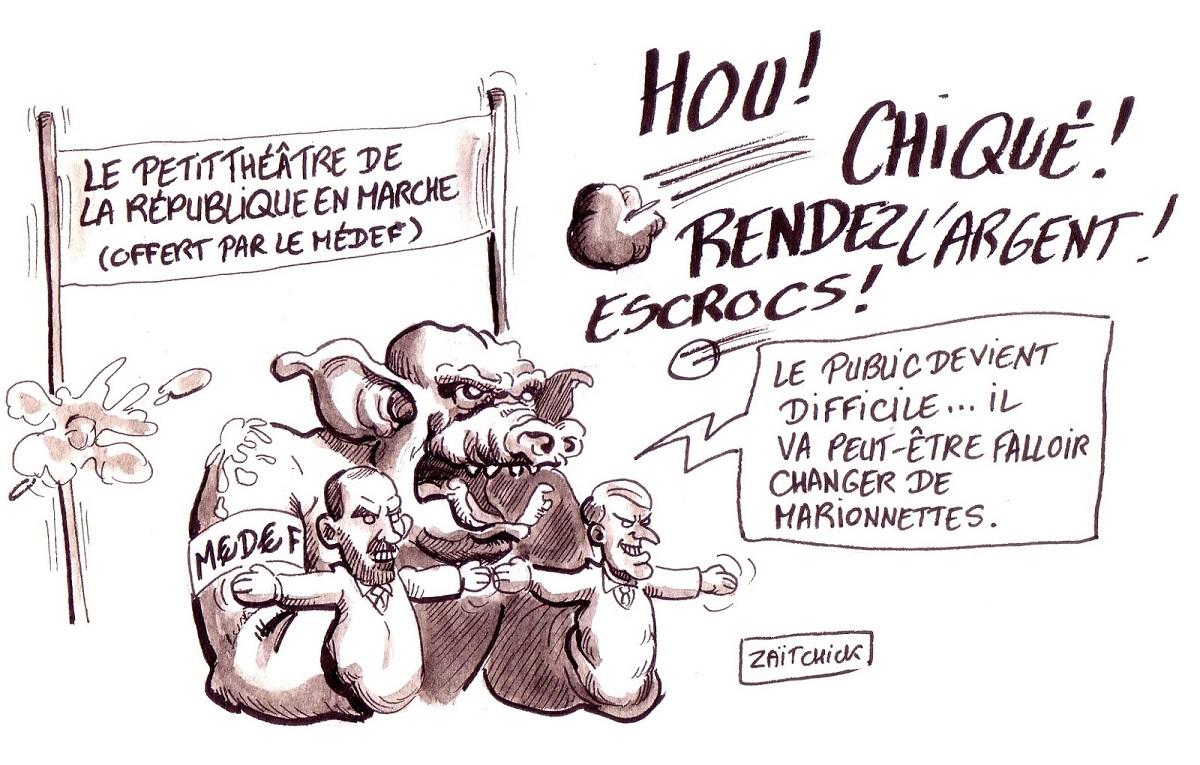 dessin d'actualité humoristique sur la République en Marche