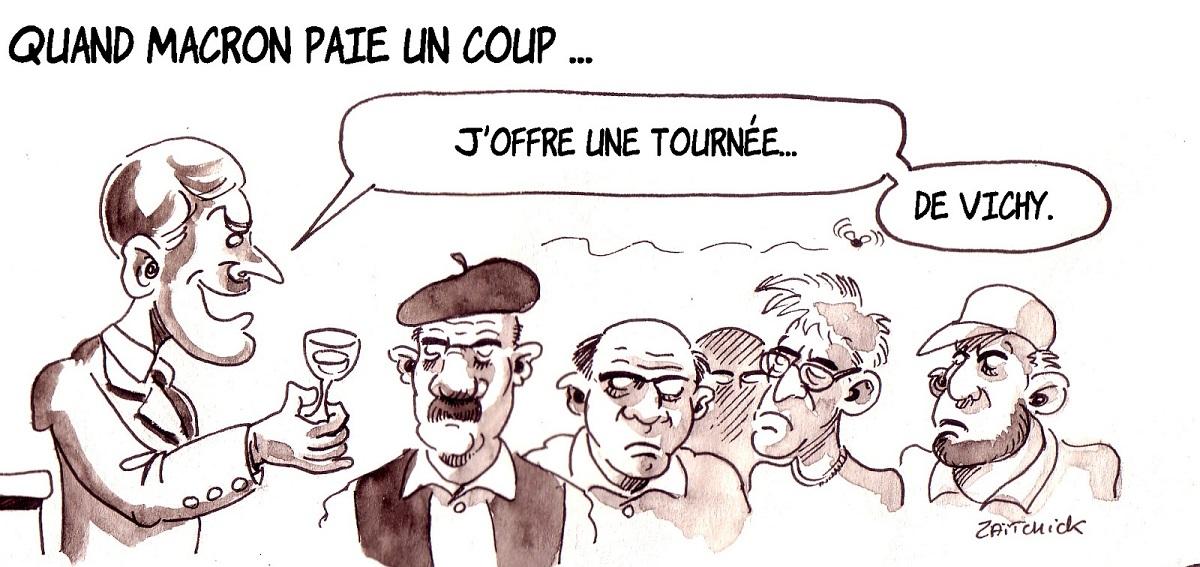 dessin d'actualité humoristique d'Emmanuel Macron offrant sa tournée générale au peuple