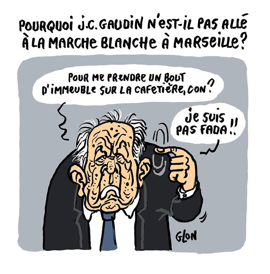 dessin d'actualité humoristique sur la réaction de Jean-Claude Gaudin à l'effondrement d'un immeuble à Marseille