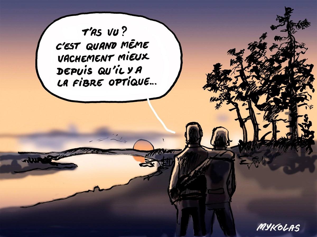 dessin d'actualité humoristique sur l'installation de la fibre optique en Vendée