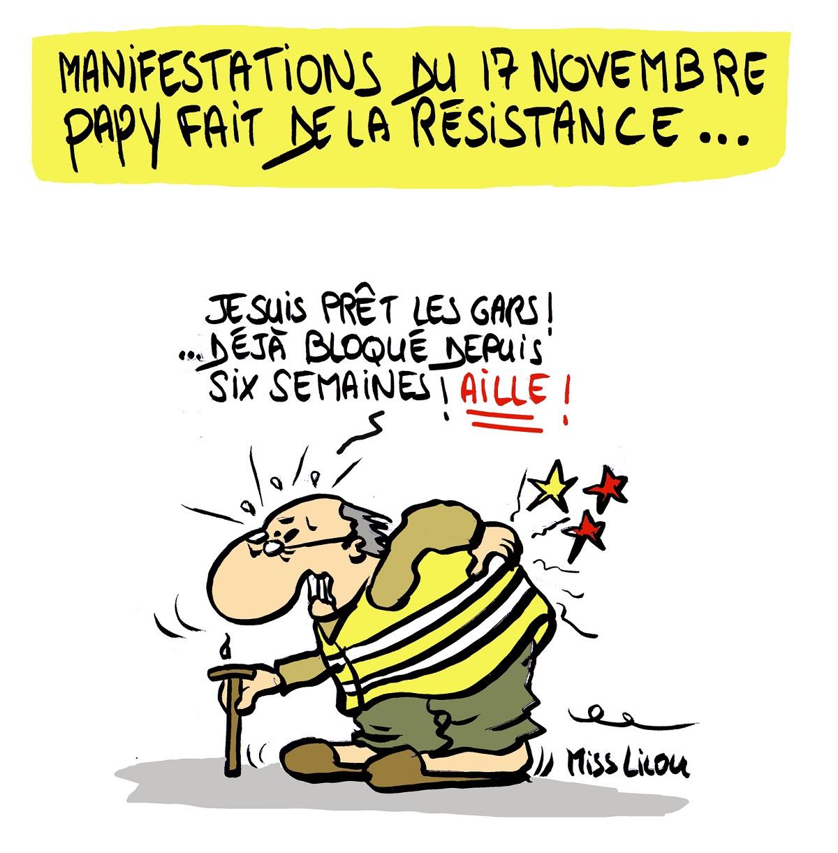 dessin d'actualité humoristique sur le mouvement des gilets jaunes du 17 novembre
