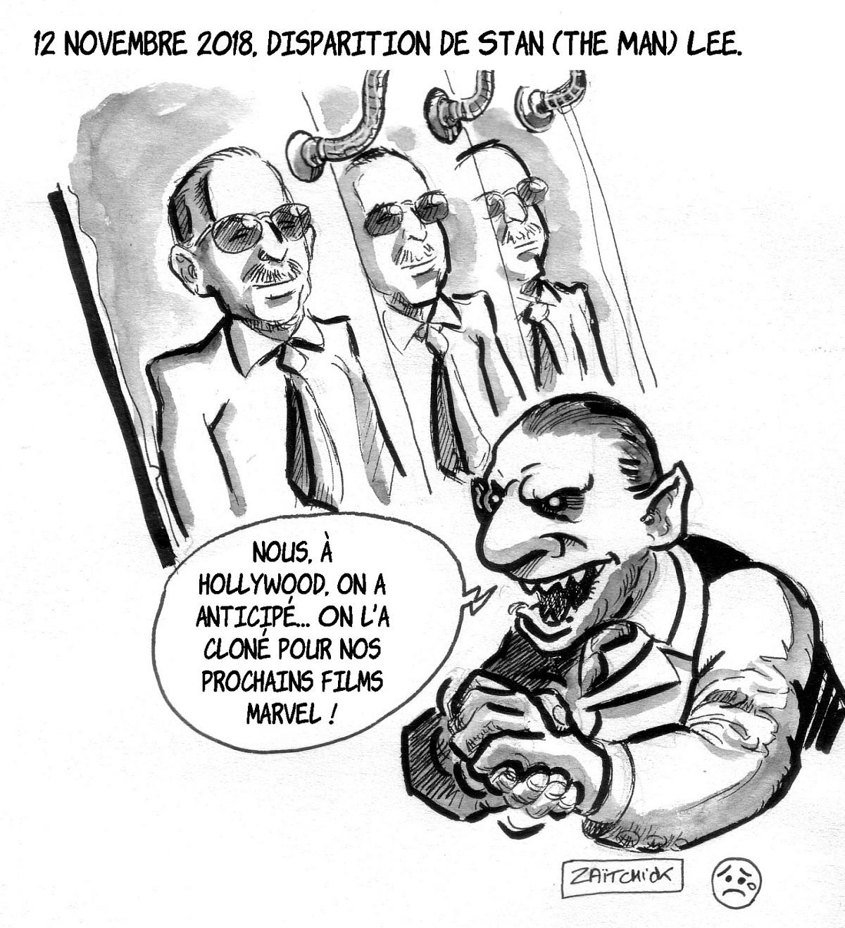 dessin d'actualité humoristique en hommage à Stan Lee