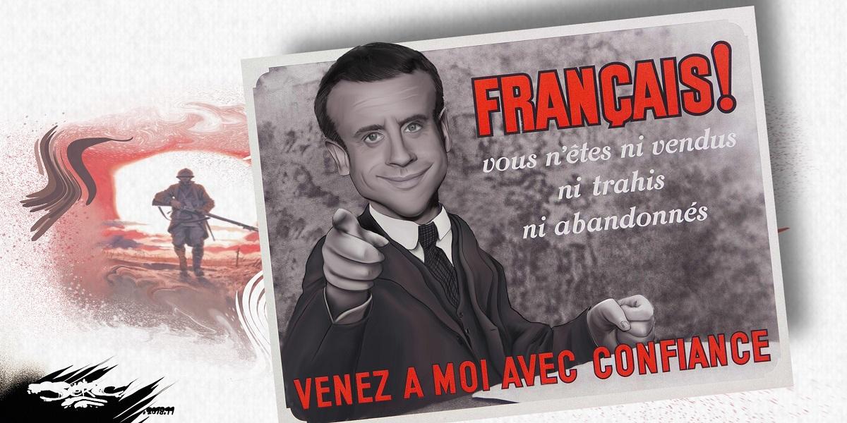 dessin d'actualité humoristique sur Emmanuel Macron en affiche du Maréchal Pétain