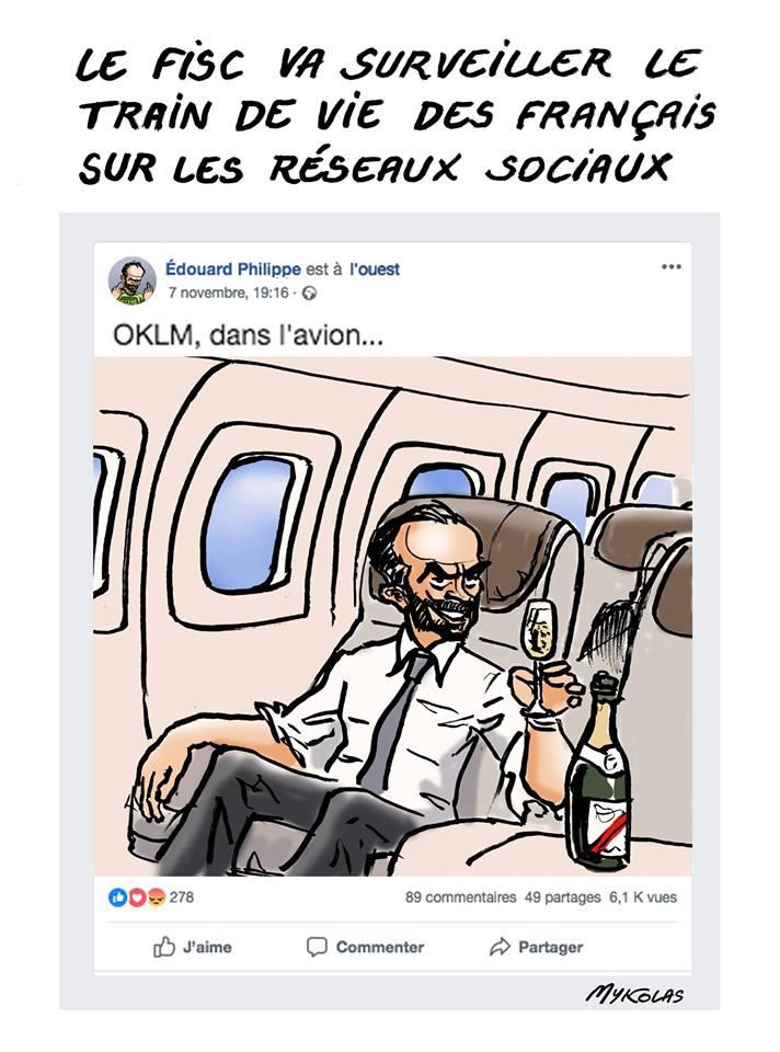dessin d'actualité humoristique sur la surveillance des réseaux sociaux par le fisc français