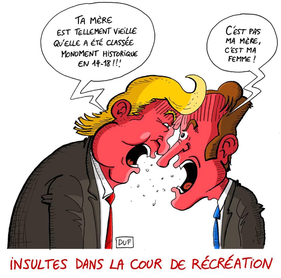 dessin d'actualité humoristique sur les tensions entre Donald Trump et Emmanuel Macron