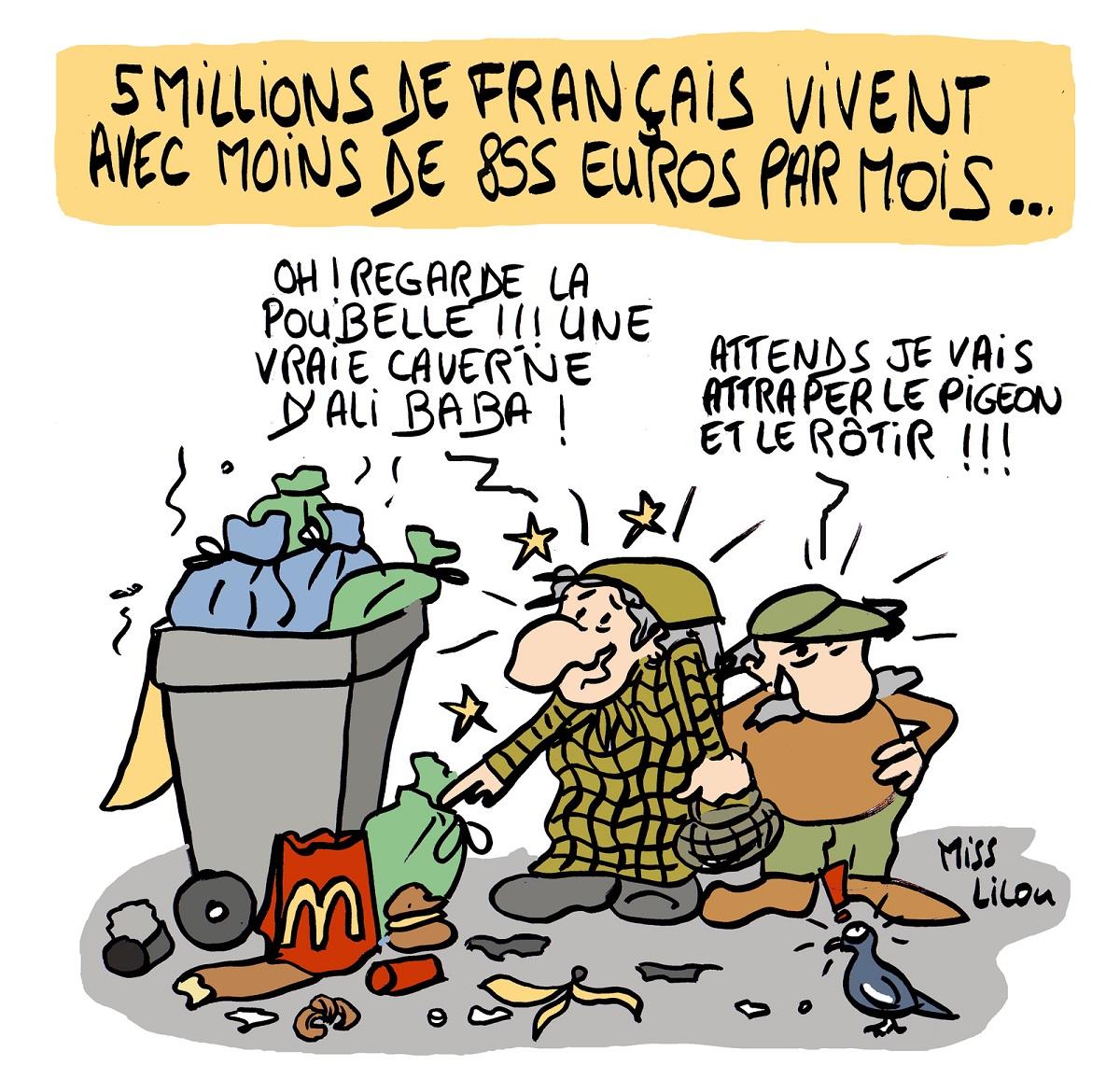 dessin d'actualité humoristique sur les 5 millions de Français pauvres