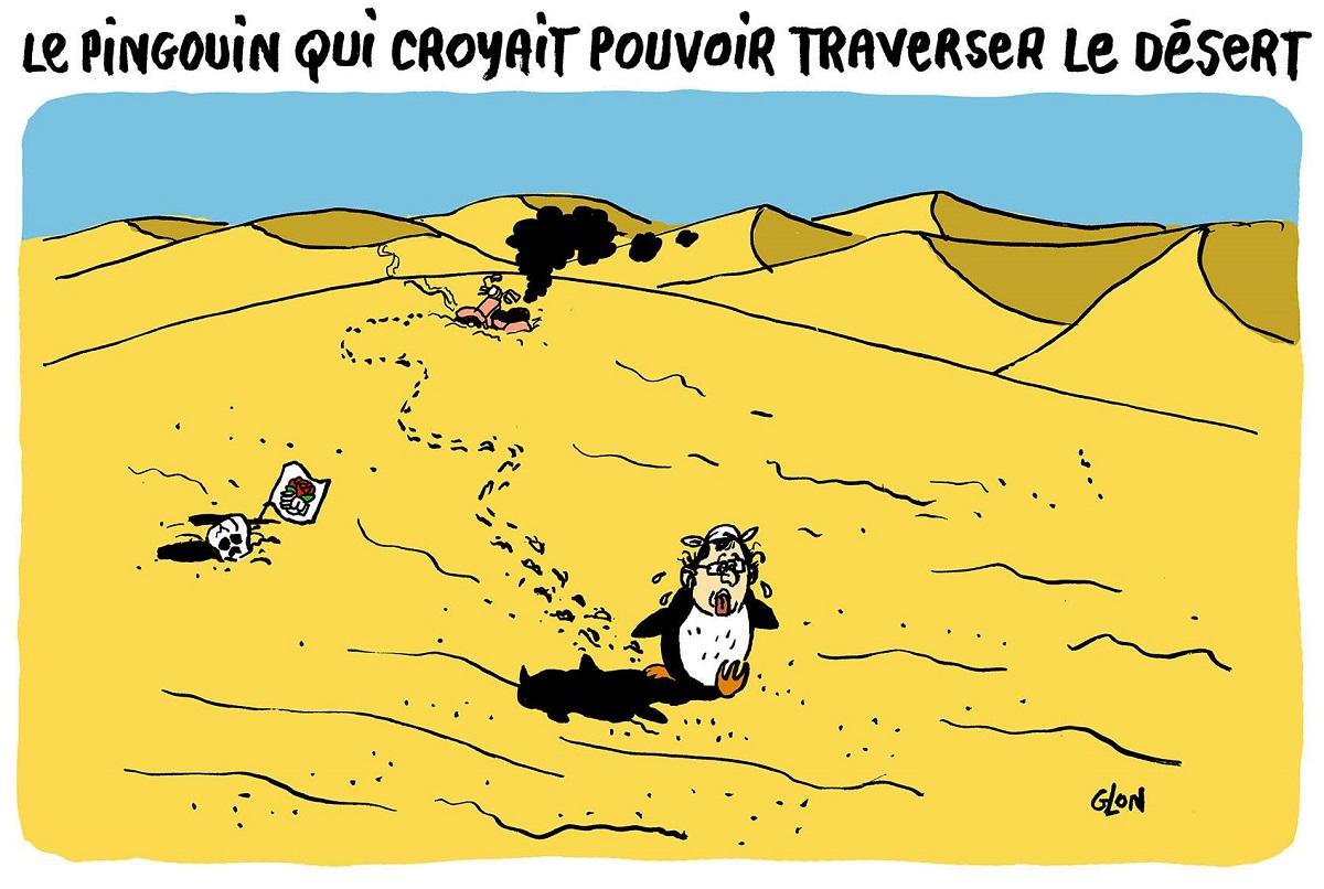 dessin d'actualité humoristique sur le retour en politique de François Hollande