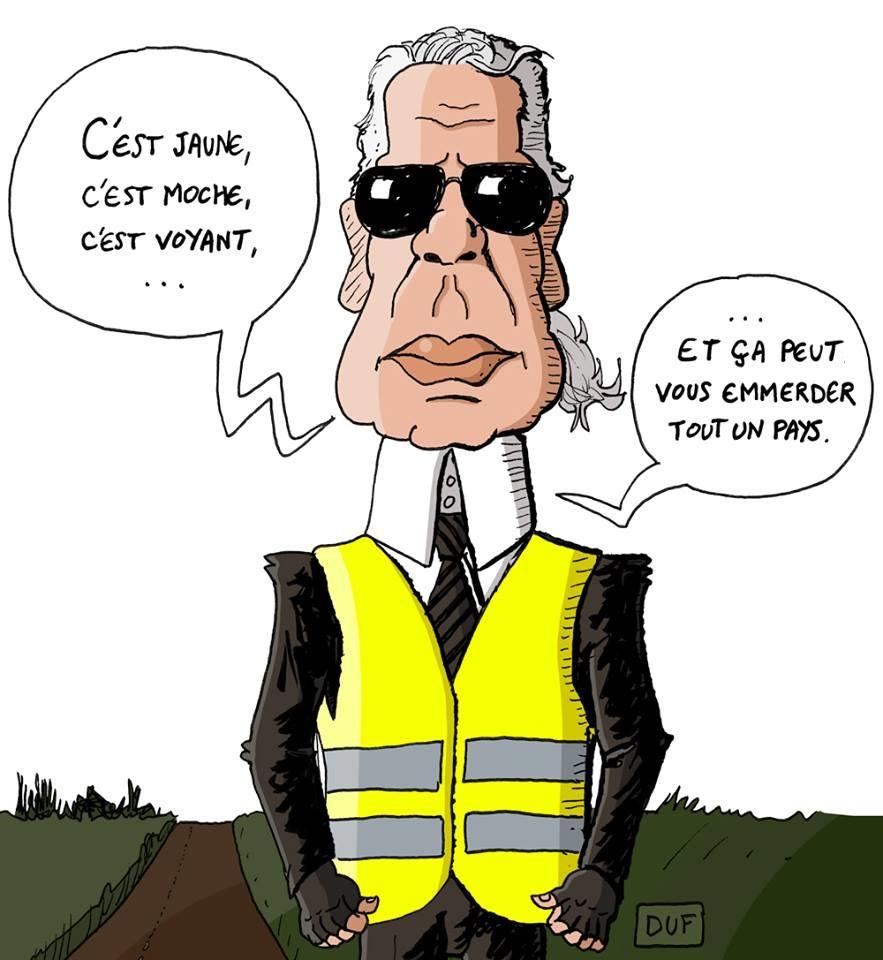 dessin d'actualité humoristique sur le mouvement des gilets jaunes pour le 17 novembre