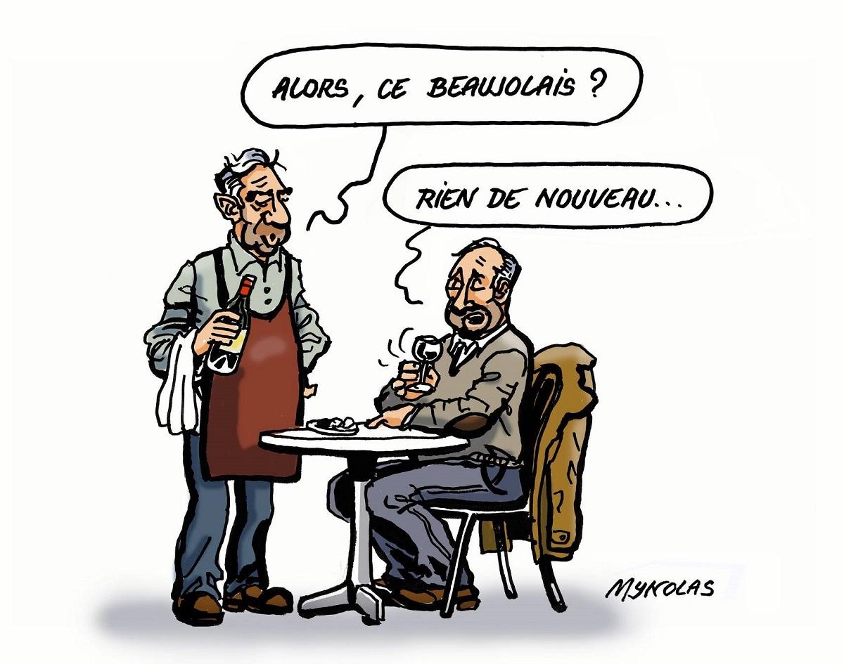 dessin d'actualité humoristique sur le Beaujolais nouveau
