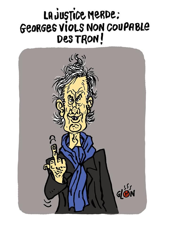 dessin d'actualité humoristique sur la réaction de Georges Tron a l'annonce de son jugement