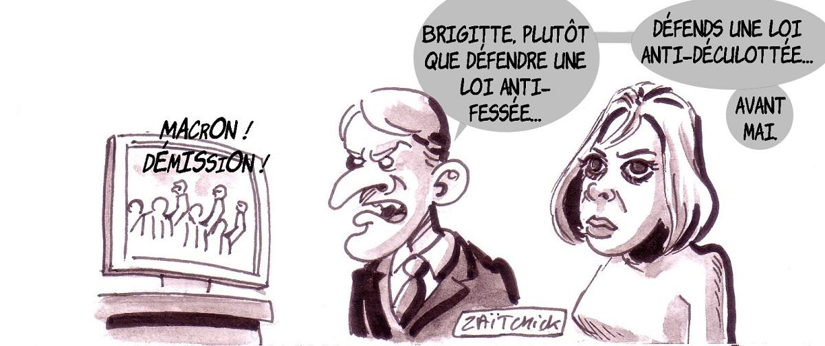 dessin d'actualité humoristique sur la réaction d'Emmanuel Macron face à la contestation du peuple Français