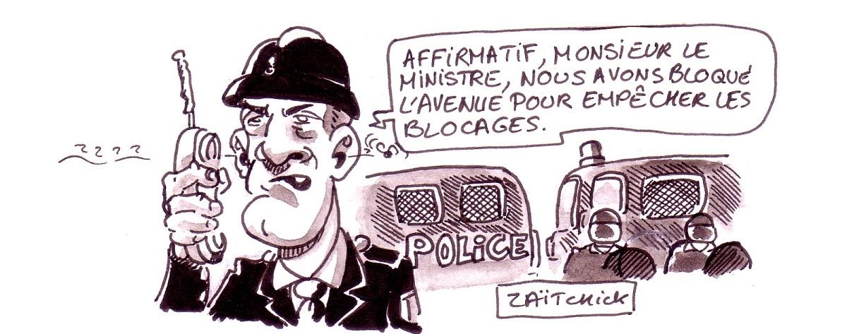 dessin d'actualité humoristique sur l'action du gouvernement pour empêcher les blocages du 17 novembre
