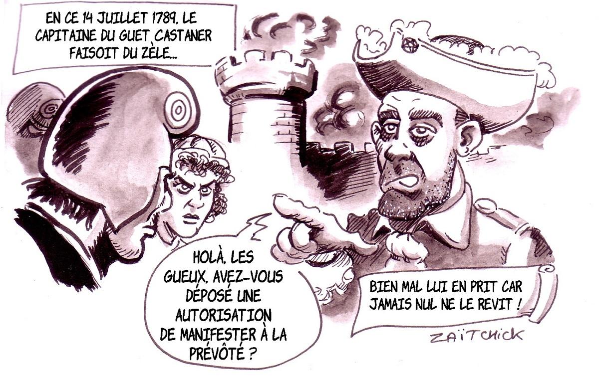 dessin d'actualité humoristique faisant le parallèle entre le 17 novembre et le 14 juillet