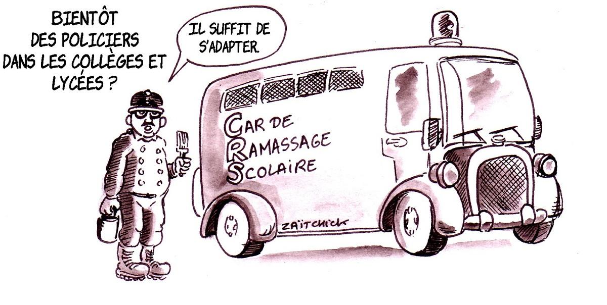 dessin d'actualité humoristique sur la future présence de policiers dans les collèges et lycées