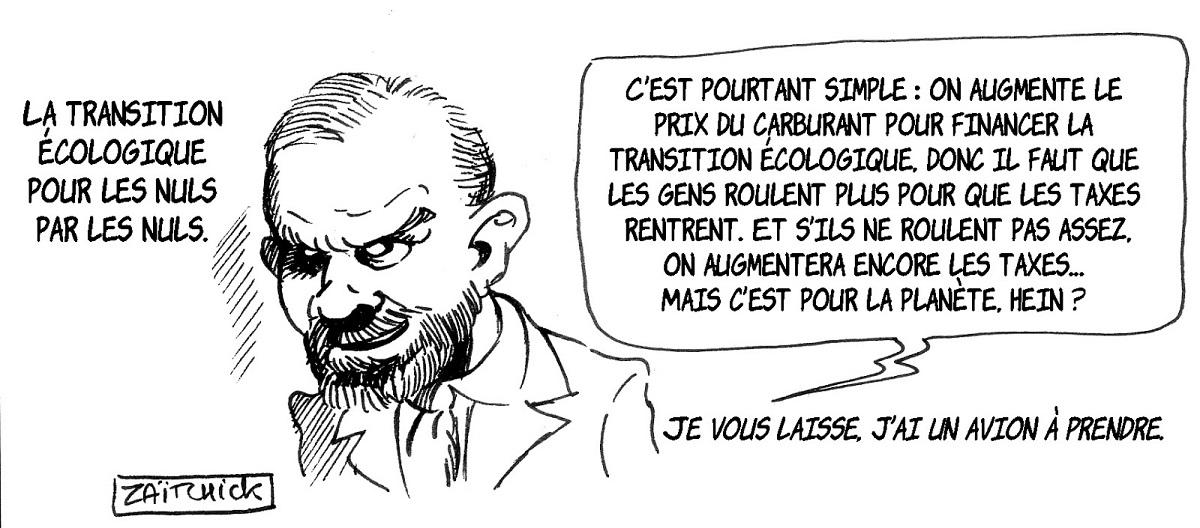 dessin d'actualité humoristique sur Édouard Philippe expliquant la transition écologique