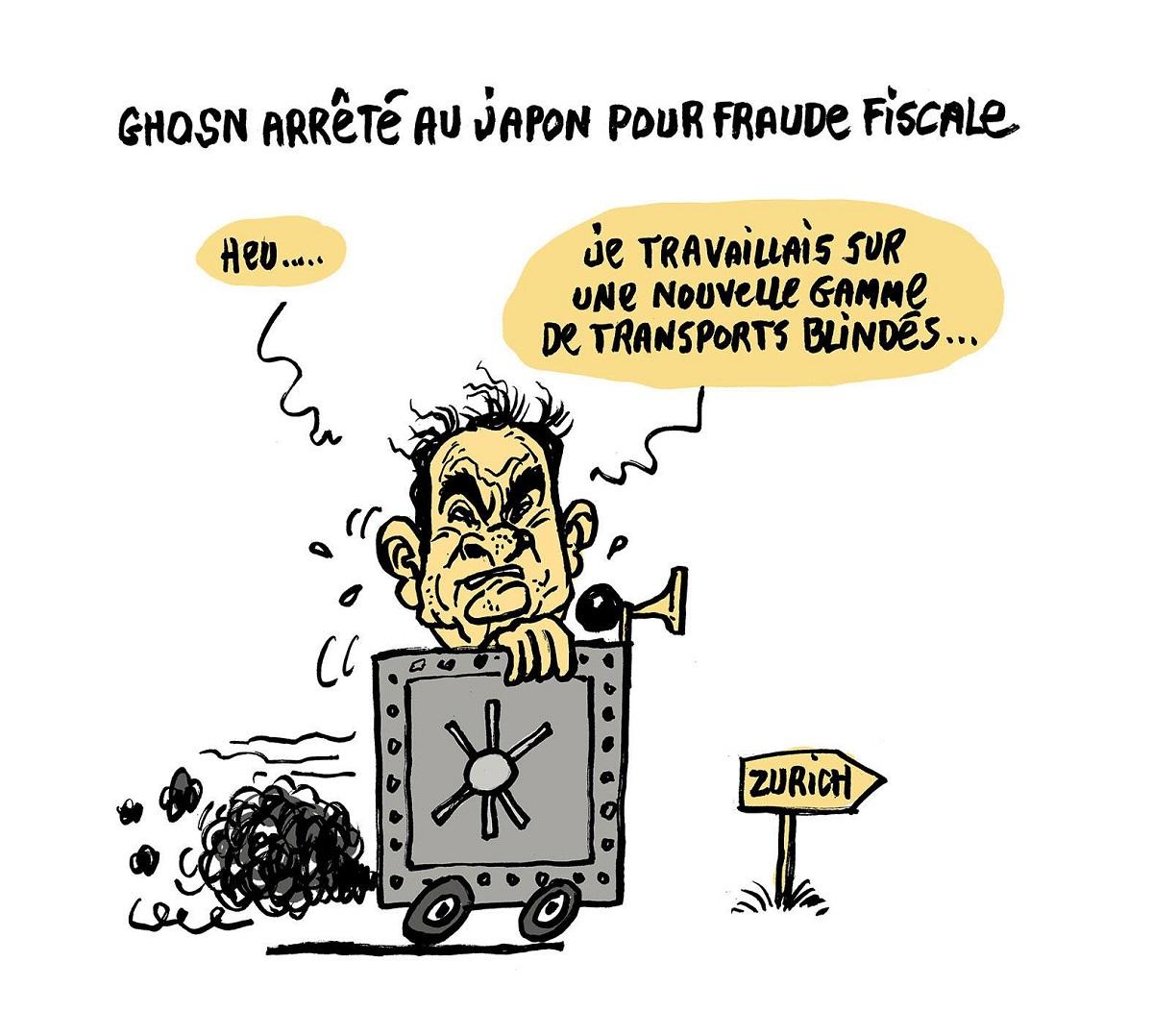 dessin d'actualité humoristique sur l'arrestation de Carlos Ghosn pour fraude fiscale au Japon