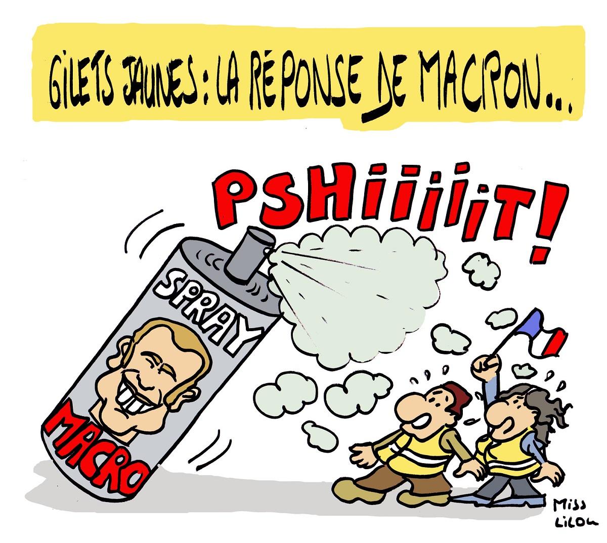 dessin d'actualité humoristique sur Emmanuel Macron et le mouvement des gilets jaunes du 17 novembre