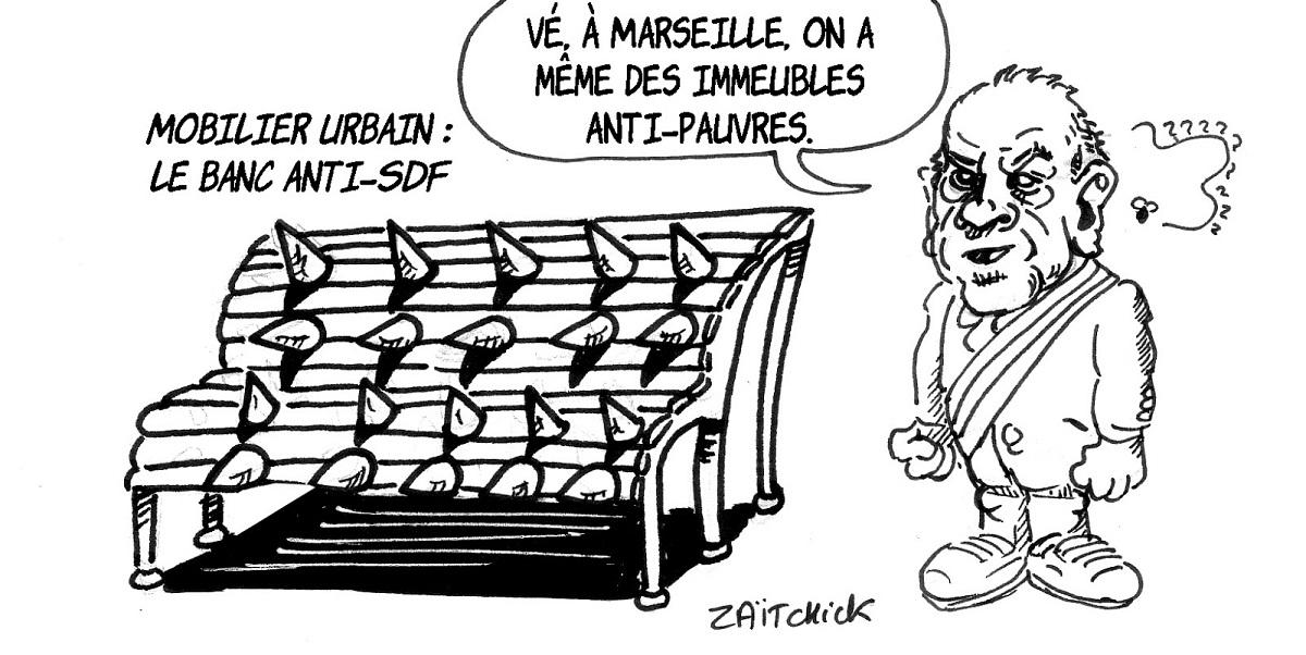 dessin d'actualité humoristique sur le mobilier urbain anti-SDF