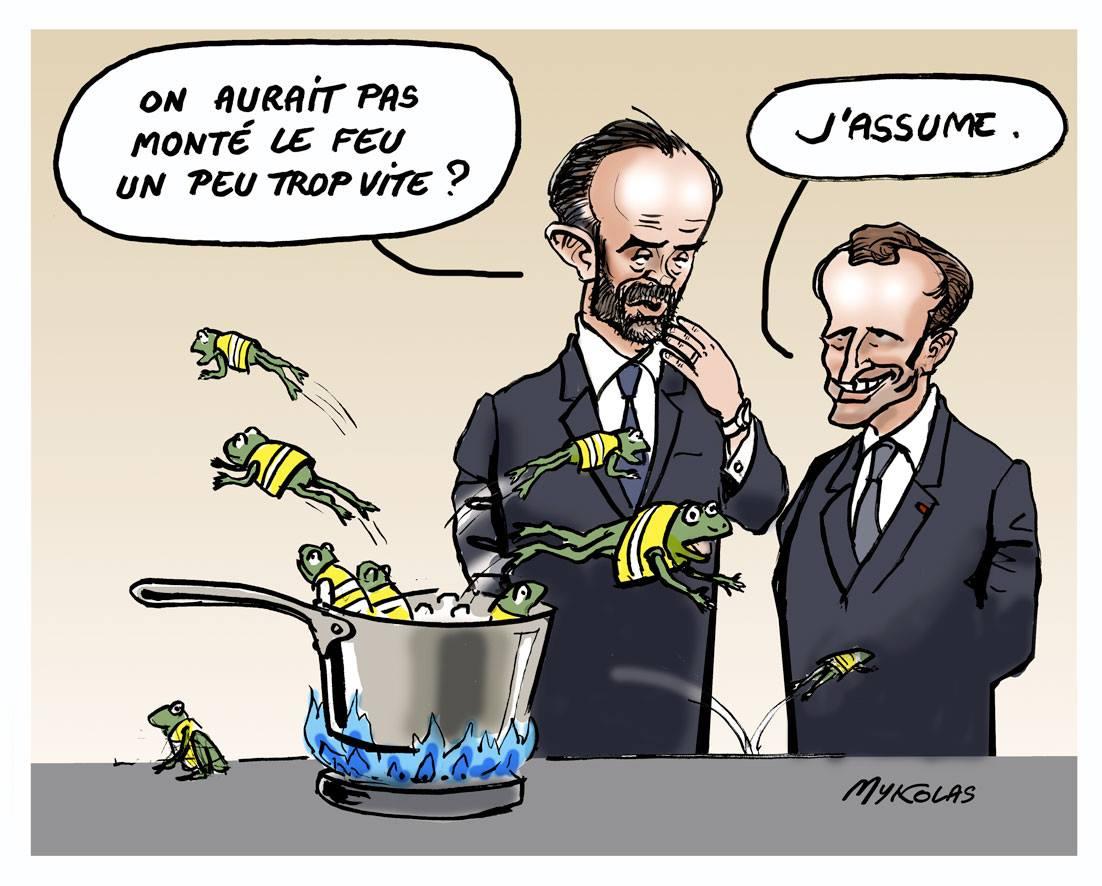 dessin d'actualité humoristique sur la réaction d'Emmanuel Macron et Édouard Philippe face au mouvement des gilets jaunes