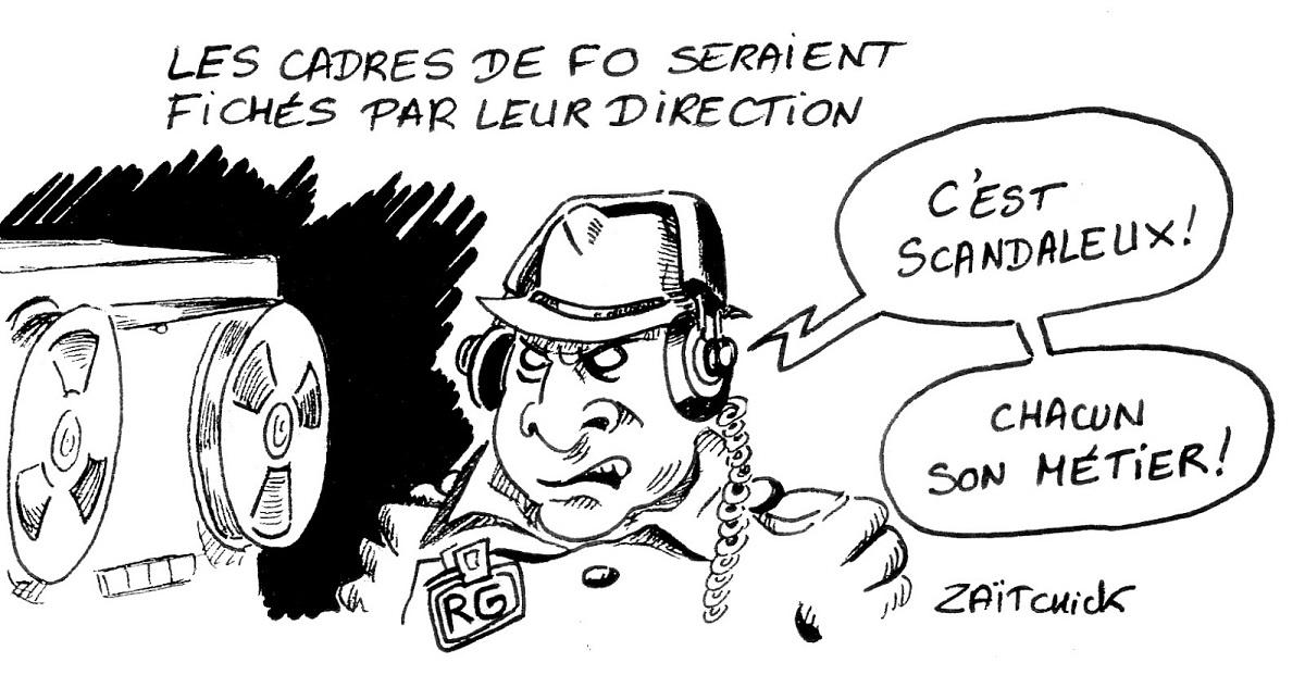 dessin d'actualité humoristique sur le fichage des cadres FO par leur direction