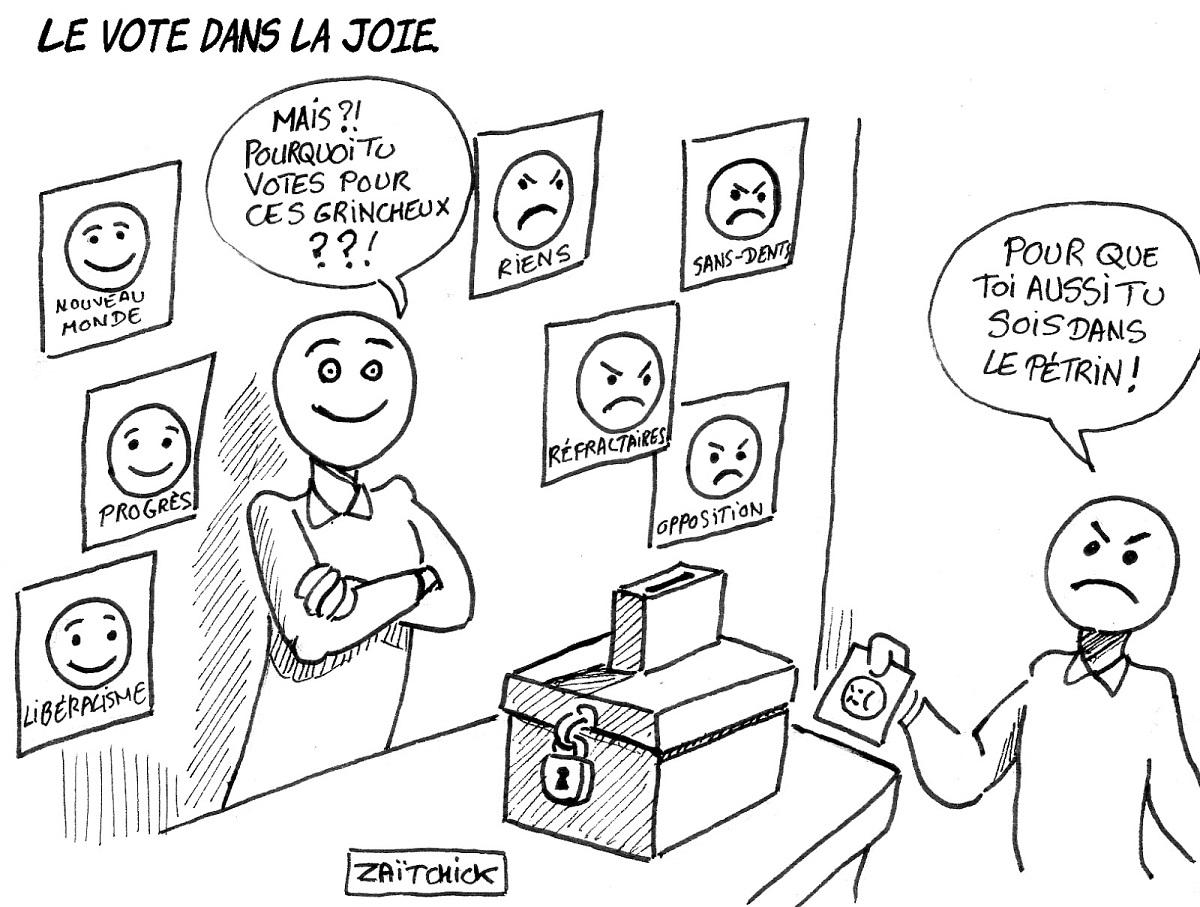 dessin d'actualité humoristique sur la montée des votes populistes