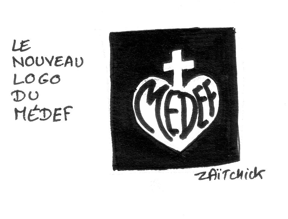 dessin d'actualité humoristiques sur le nouveau logo du MEDEF