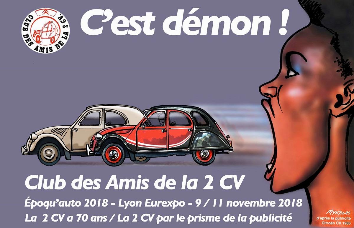 dessin d'actualité humoristique sur les 70 ans de la 2 CV à Lyon Eurexpo