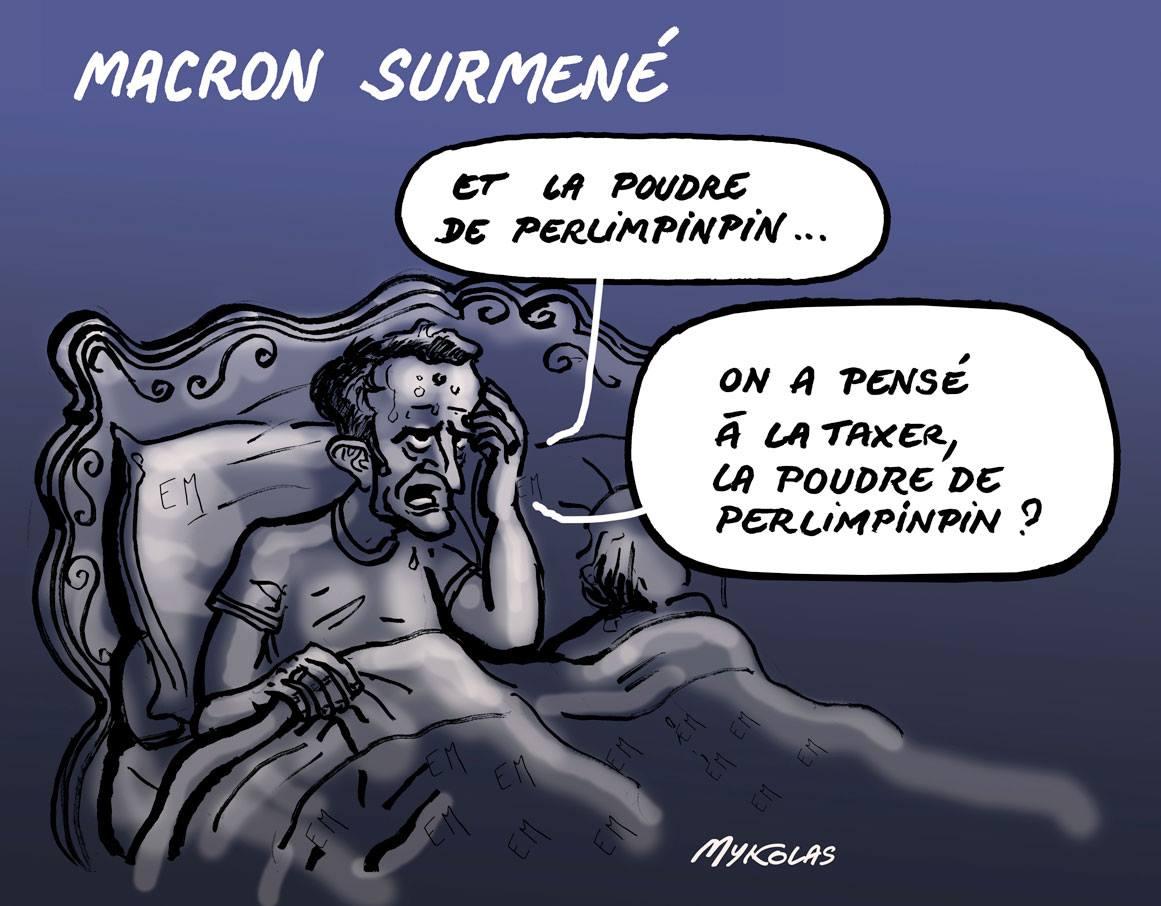 dessin d'actualité humoristique sur la brusque fatigue du Président Macron