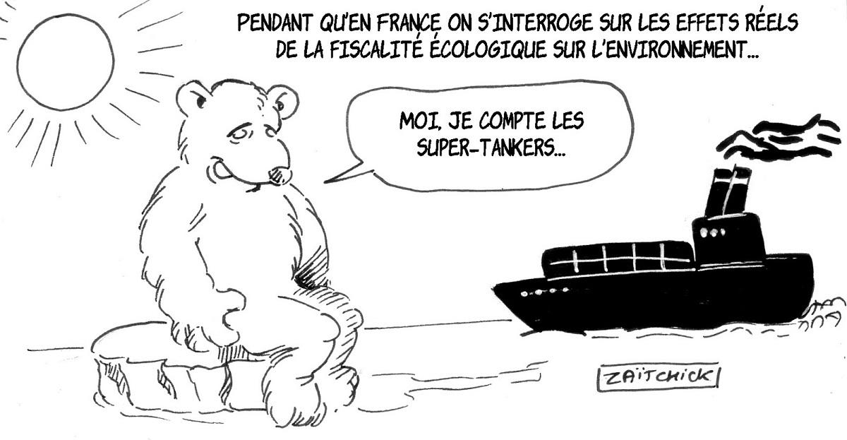 dessin d'actualité humoristique sur les enjeux environnementaux de la fiscalité écologique