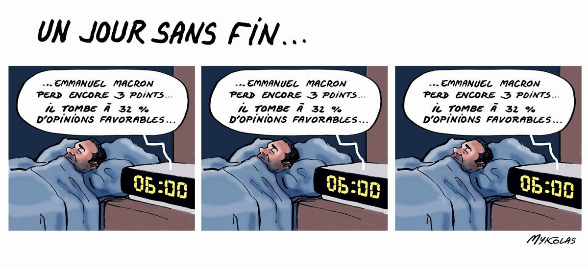 dessin d'actualité humoristique sur la chute d'Emmanuel Macron dans les sondages