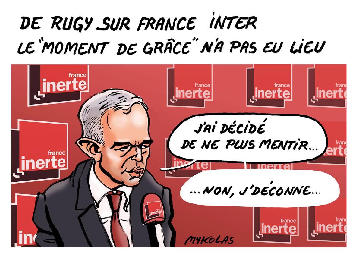 dessin d'actualité humoristique sur l'intervention de François de Rugy dans la matinale de France Inter