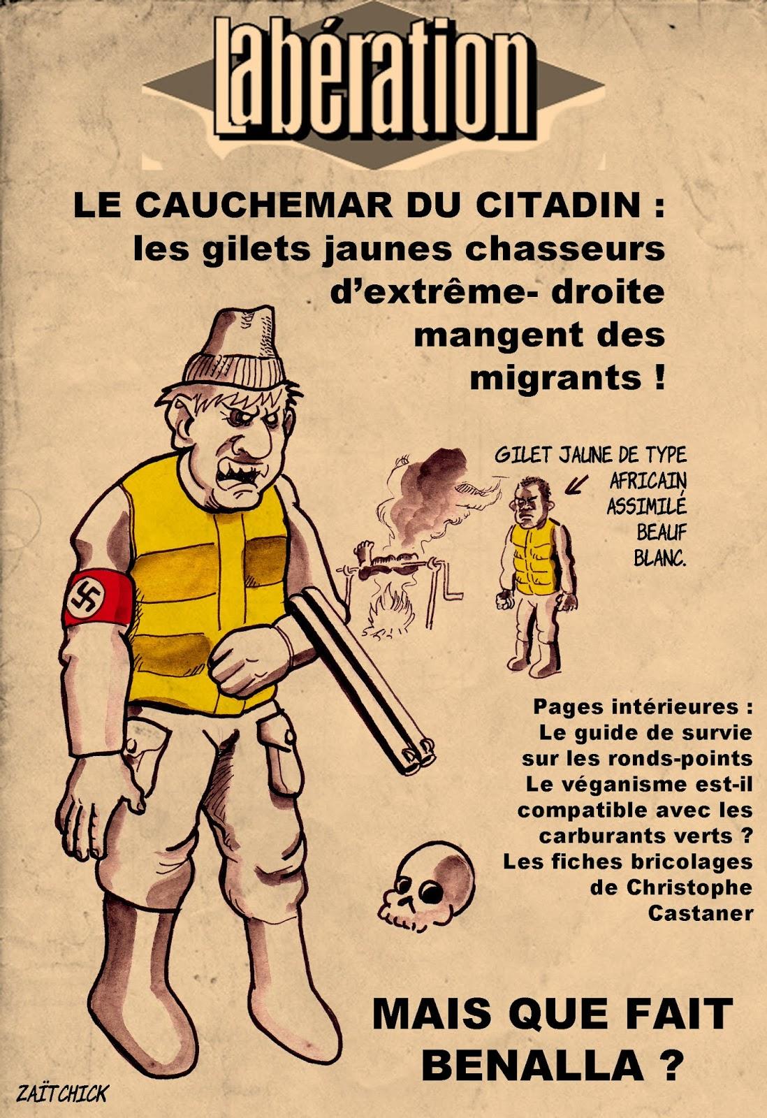dessin d'actualité humoristique sur le traitement journalistique du mouvement des gilets jaunes