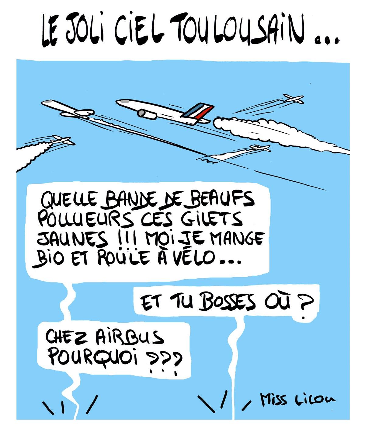 dessin d'actualité humoristique sur les gilets jaunes et la pollution du kérosène des avions