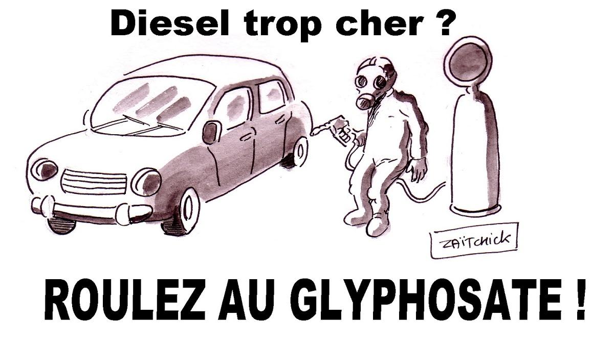 dessin d'actualité humoristique sur les taxes écologiques qui épargnent le glyphosate