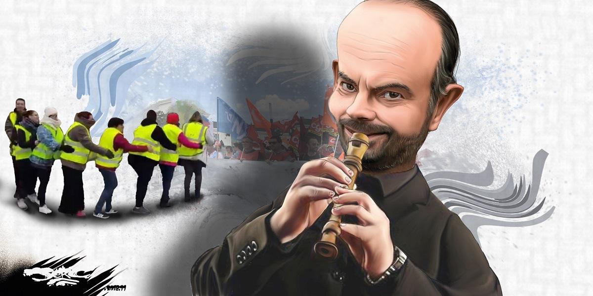 dessin d'actualité humoristique sur la réaction d'Édouard Philippe face au mouvement des gilets jaunes