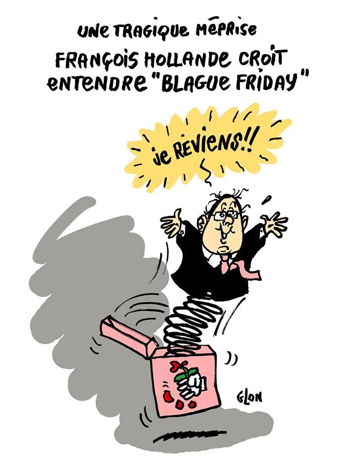 dessin d'actualité sur le Black Friday de François Hollande