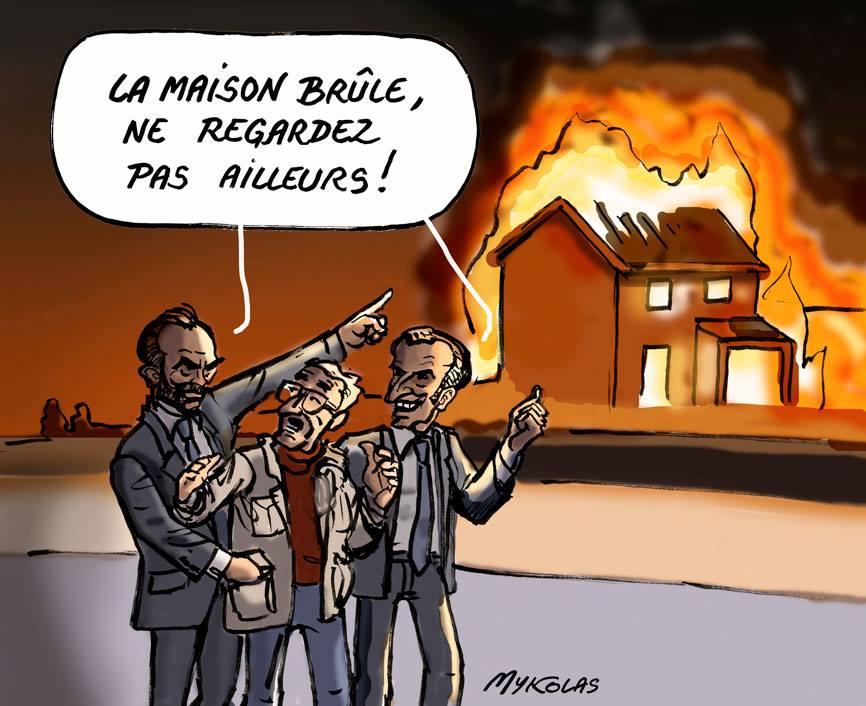 dessin d'actualité humoristique d'Emmanuel Macron et Édouard Philippe piochant dans les poches des français pendant que la maison brûle